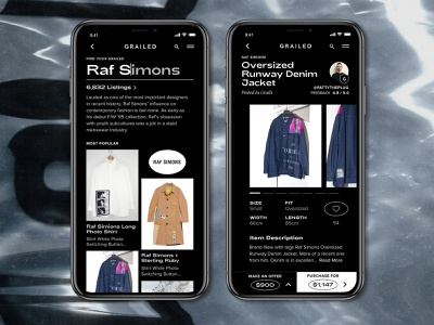 Grailed Mobile App Redesign | Product Page and List retail raf simons streetwear fashion fashion app ux ui dailyui grid graphic design dark ui search list product page typogaphy grailed