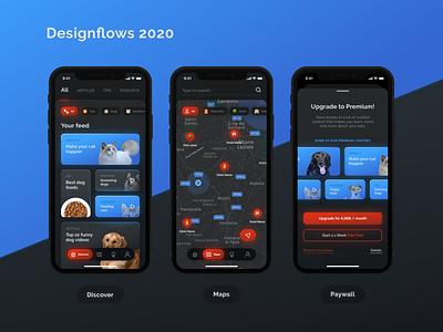 Designflows 2020 dog cat neon darkmode dark ui dark red blue user inteface designflows contest animals animal mobile ui ui ui  ux bendingspoons app design app mobile