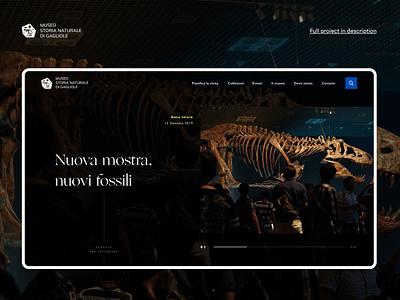 Museum of Natural History of Gagliole - Website black darkmode dark simple dinosaur museum webdesign design uidesign ui  ux ui websites web logo branding elegant natural modern history website