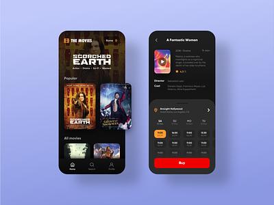 The Movies ios red mobile app design tickets uidesign ui ux mobile mobile ui application theater cinema movies movie app design popular shot popular app