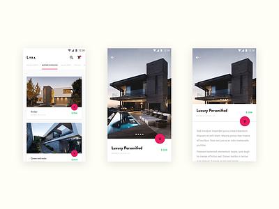 Lyra - houses market concept, Material Design material design flat ui app modern houses challenge onboarding materialup