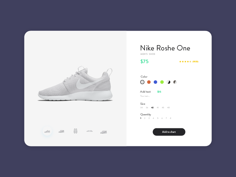 Daily UI #033 - Customize Product shop customize product shoes nike daily dailyui simple modern daily ui