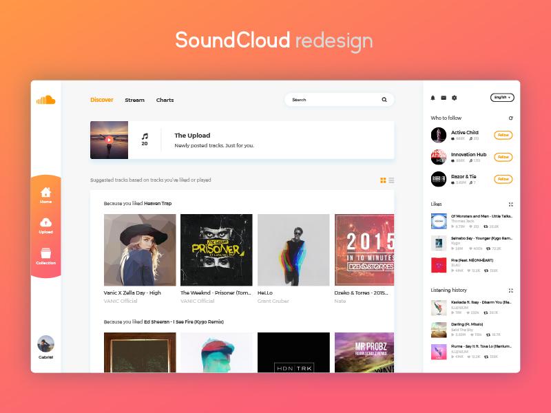 SoundCloud Redesign web site website 2017 ux ui redesign music soundcloud