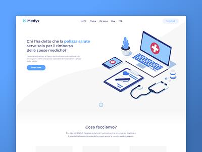 Healthcare Startup website - Medyx blue medyx italia italian healthcare heatlh startup 2019 illustration design ux site web simple ui website flat modern