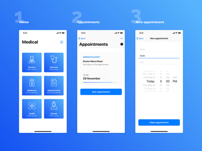 Medical mobile application mobile app hospital nurse doctor appointments appointment iphone x iphone ios blue health care health app health design ux simple ui flat modern