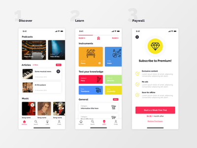 Designflows 2019 designflows paywall home classical ios ui music app competition bending spoons contest