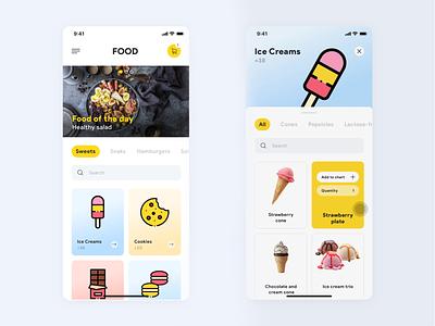 Food iOS App white light ios ux ui flat modern design yellow snacks icecream simple app design mobile application app food app food