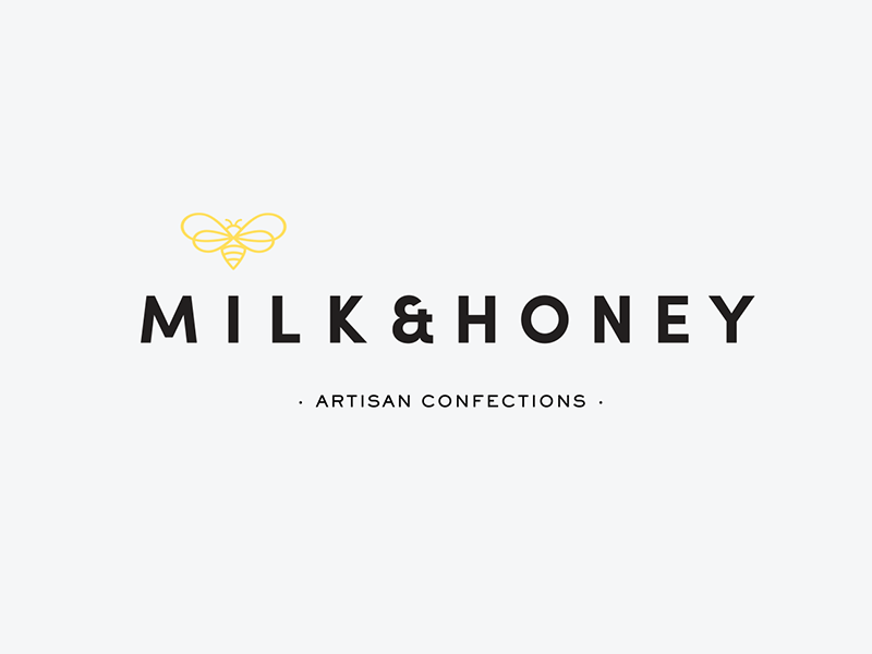 Milk & Honey Primary Logo typography logo logo lockup bee icon primary logo logo