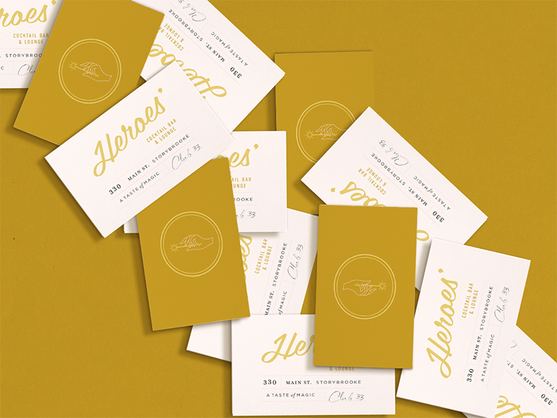 Disney Heroes' Bar Business Cards collateral design logo design vintage inspired design magic stationary design business card design disney branding