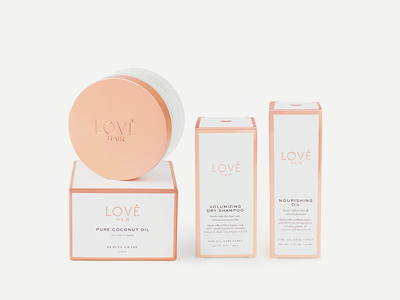Love Hair Packaging copper foil product branding beauty branding beauty packaging product photography packaging design packaging