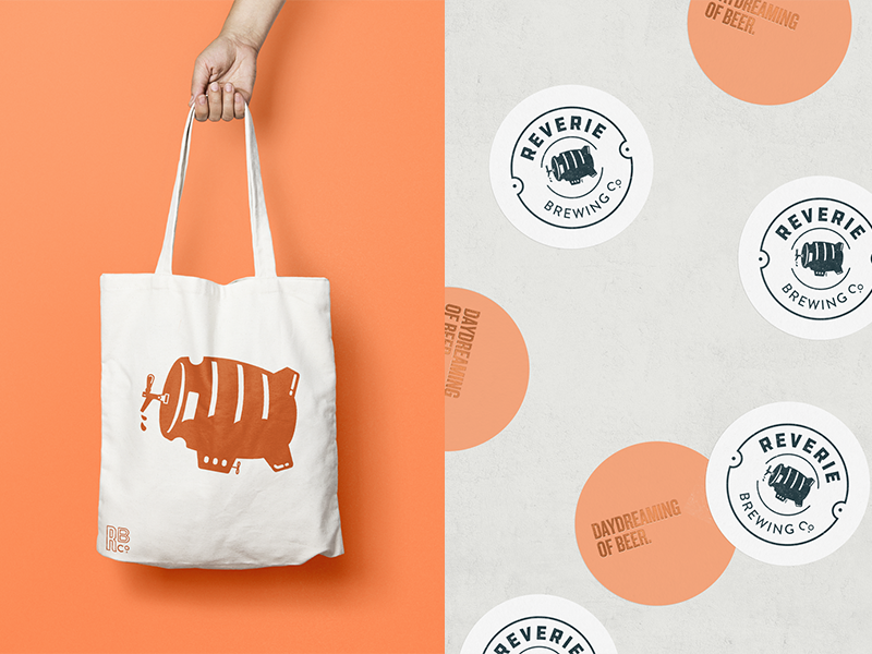 Reverie Brewing Print Collateral urban brand design mockups logo illustration logo badge logo emblem brewery branding illustration tote bag print collateral