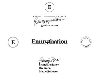 Emmygination Logo System blogger branding dream magic taglines secondary logos logo branding logo design serif font serif logo logo system