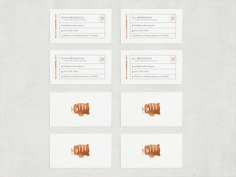 Reverie Brewing Business Cards layout design minimal design beer logo brewery branding foil business cards business card design