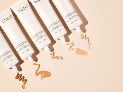 Albeit Complexion Packaging || product photography minimal design packaging design packaging logo design makeup packaging art deco beautifu logo design beauty packaging anthropologie