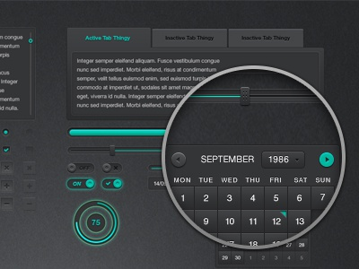 Dark UI Kit (Free PSD) dark ui user interface free psd multi colour buttons inputs slider tabs