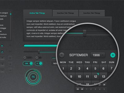 Dark UI Kit (Free PSD) dark ui user interface free psd multi colour buttons inputs slider tabs