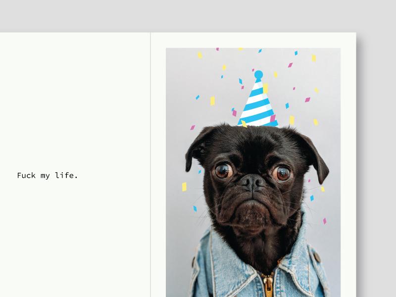 FML Card party hat funny sad damn fml card postcard party pug