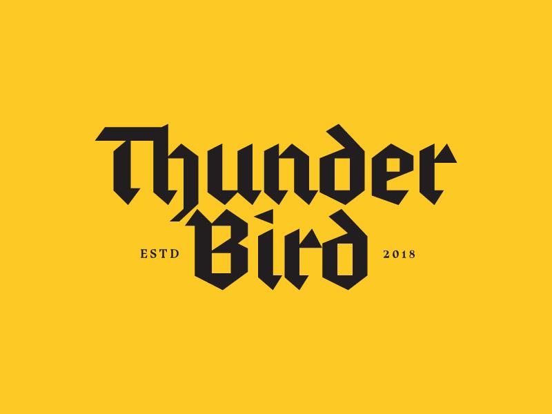 Thunder Bird blackletter yellow branding logo bird thunder