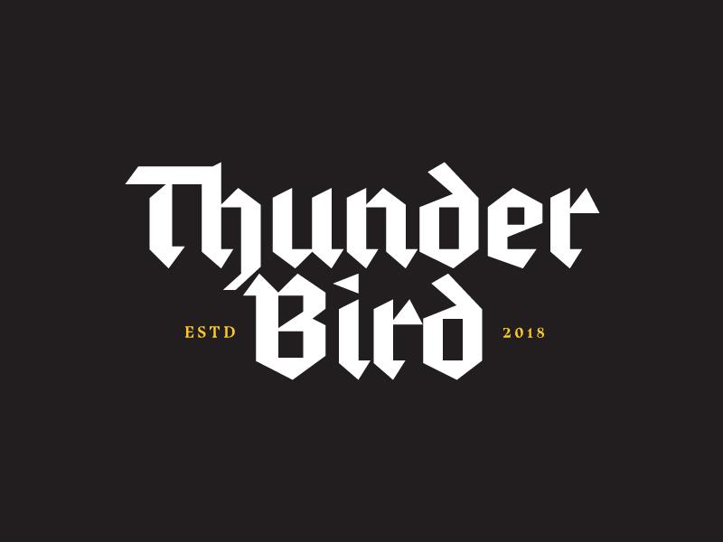 Thunder Bird Black thunderbolt blackletter branding logo yellow black thunderbird thunder