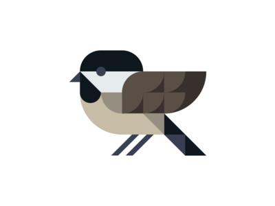 Black Capped Chickadee chickadee capped black vector oriole ohio logo illustration grid geometric bird