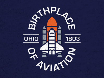 Birthplace of Aviation graphic tee birthplace of aviation rocket spaceship shuttle tee shirt akron illustration logo ohio