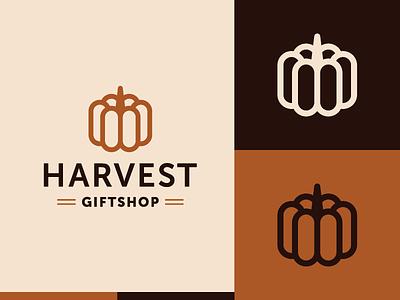 Harvest Giftshop symbol identity pumpkin autumn fall marking brand logo