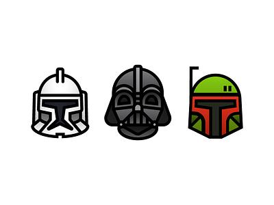 Star Wars Icons characters wars vader star outline icons helmet fett emoji darth clone boba