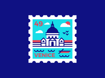 Venice Stamp icon boat water geometric illustration stamp travel italy venice