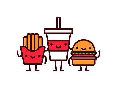The Junk Food Boys poster soda fries cute illustration burger drink food junk food
