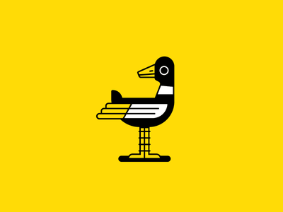 Duck creature stand fly water fowl yellow akron linework animal ohio bird duck