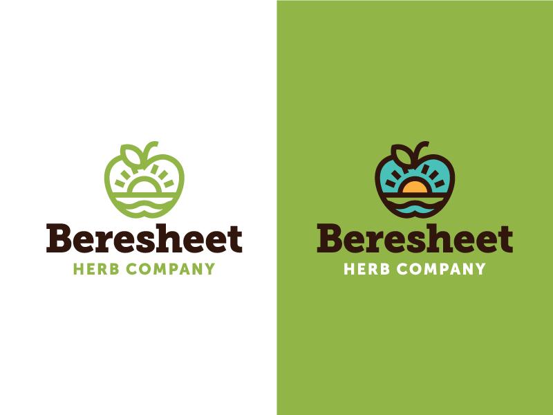 Beresheet Identity #1 drink coffee nature concept herb tea eden apple logo design