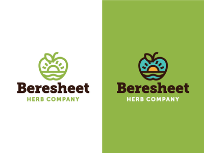 Beresheet Identity #1 drink coffee nature concept herb tea eden apple logo design