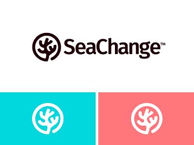 SeaChange jewelry branding identity ocean life plastic nature sea coral reef coral recycle ocean icon trademark ohio logo
