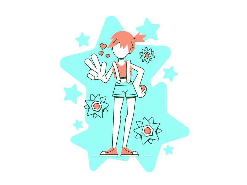 Cerulean Sweetheart pokemon beach misty water anime star waifu cute girl person ball shorts swimming illustration summer sunny wet pokemongo ohio