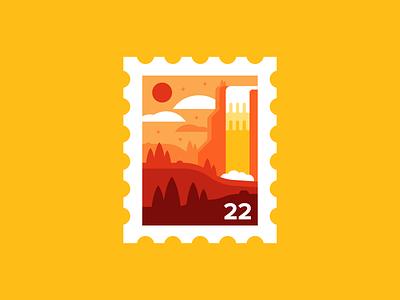 Summer Sunset Stamp stamp design illustration ohio camp summertime biking wildlife explore adventure park happy bright