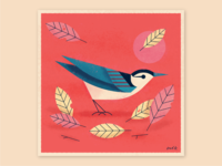 Nuthatch Under Harvest Moon simplistic tribal retro autumn fall night moon nuthatch grid akron geometric ohio bird identity illustration icon