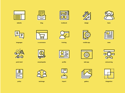 Bling SH: Icon set lineart linear grid visual pack icon set cyberpunk colors bold colorful software house iconography logo mark set illustration branding idenity icons icon