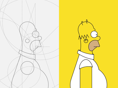 Homer J. Simpson - a character study 🍩 wip tribute flat simple fanart vector illustraion process keylines guidelines grid cartoon weekly challenge dribbbleweeklywarmup animation tv show tv series simpsons simpson