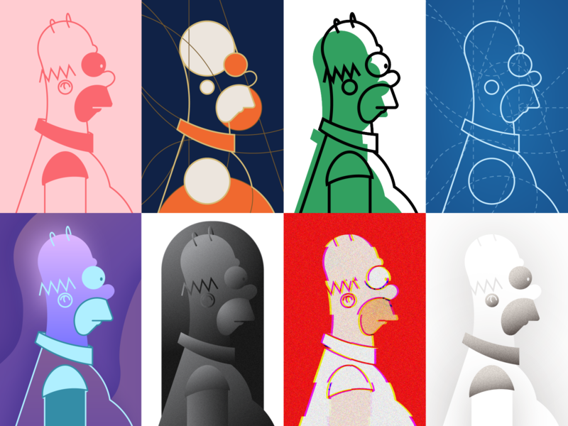 Homer J. Simpson - a character study pt.2  🍩🍩 vector experiment homer simpsons simpson tribute gradient glitch tv series tv show weekly challenge wip process guideline grid fanart dribbbleweeklywarmup style illustrator cartoon