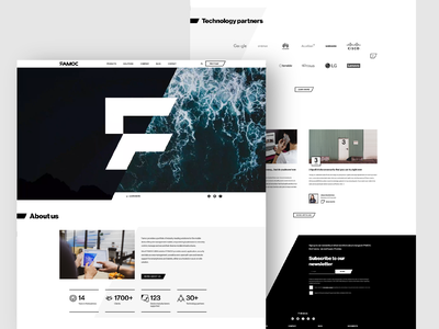 FAMOC - Product Platform Website white black gray minimal flat ui hero product page website cybersecurity security devices corporate landing platform adobe xd desktop web design webdesign