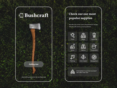 Bushcraft Equipment 🌲🪓 figma rwd wildlife adventure wild outdoors web design responsive app tent camping woods tree survival ecommerce equipment nature forest bushcraft