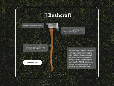 Bushcraft Equipment 🌲🪓 figma rwd wildlife adventure wild outdoors web design responsive app tent camping woods tree survival ecommerce equipment nature forest bushcraft