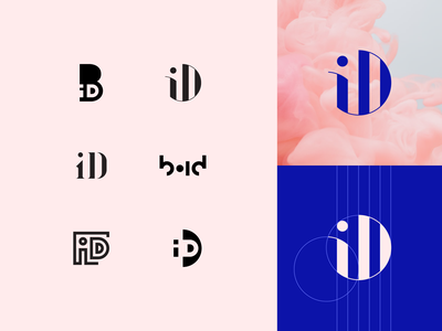 Bling iD brandmark sketches concepts pink process wip idea brand geometric logotype ligature lettermark mark brandmark wordmark minimal type typogaphy visual identity grid logo sketch concept