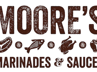 Moore's Marinade marinade barbeque grill logo texture sauce