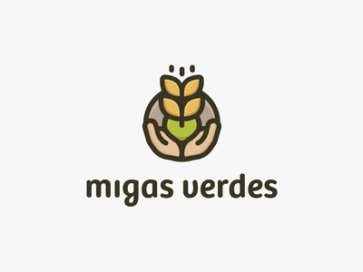Migas Verdes Logo Design vector leaf bakery fresh visual identity green crumbs hands nature logo wheat plant natural organic logomark branding identity logo design logo