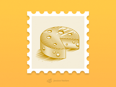 RandomStamps #1 vector illustration engraving scratchboard cheese pacman randomstamp illustration icon postage postal stamp