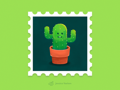 RandomStamps #2 stamp design cute art plant photoshop stamp postal postage randomstamp cactus illustration cactus illustration
