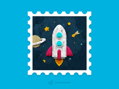RandomStamps #3 plasticine clouds star planet clay photoshop illustraion rocket space randomstamp postal postage stamp design stamp