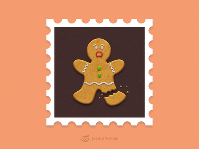 RandomStamps #4 gingerbread man gingerbread photoshop randomstamp illustraion cookie postage postal stamp design stamp
