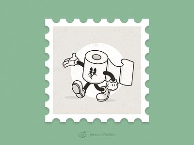 RandomStamps #5 whistle cartoon illustration cartoon randomstamp postal postage stamp design stamp cartoon character pandemic cuphead toilet paper character design character adobe illustrator vector illustration